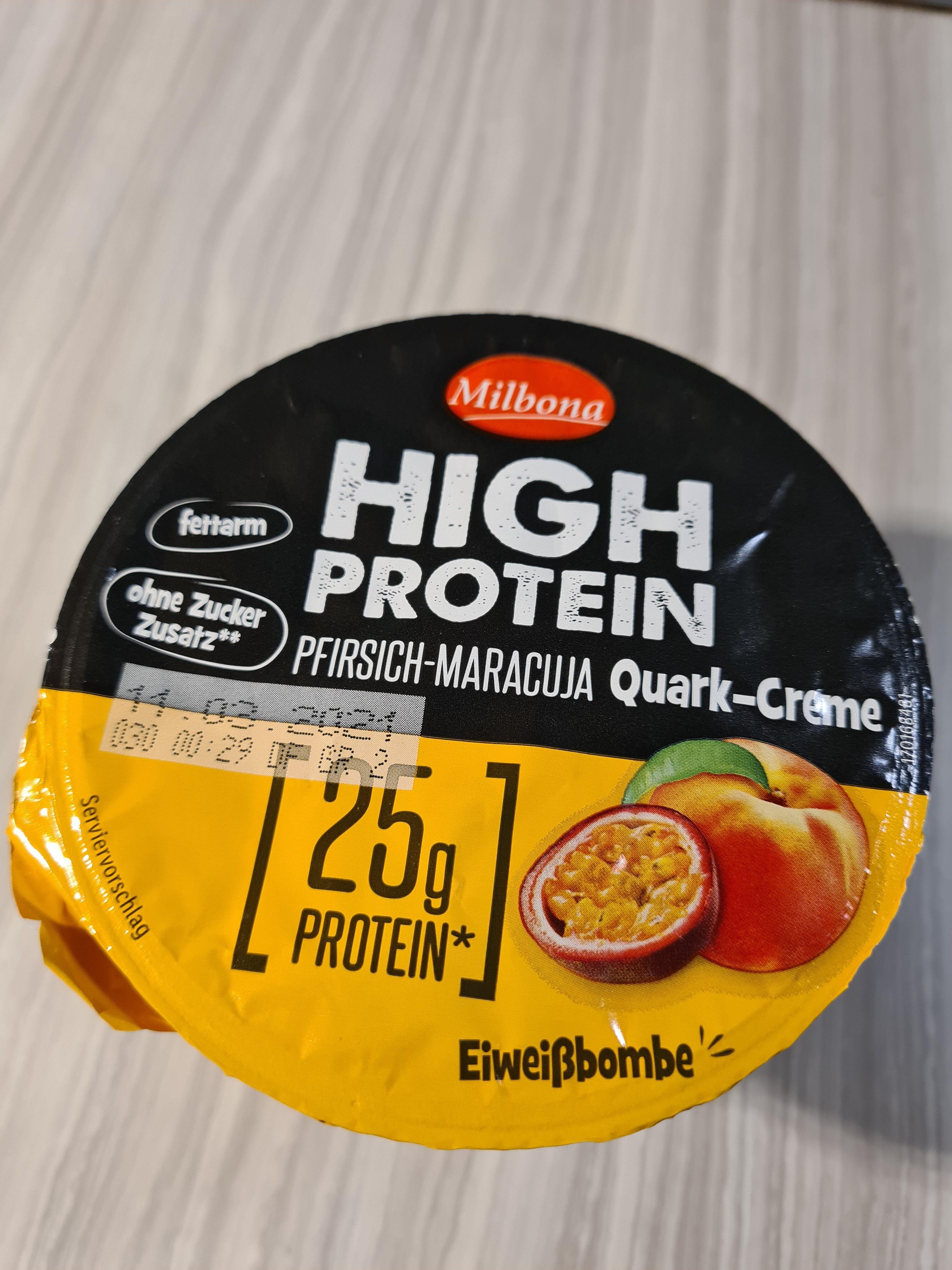 High protein Pfirsich-Maracuja Quark-Creme - Product - de