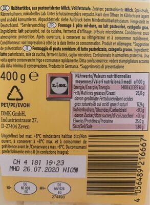 Fromage à pâte mi-dure - Informations nutritionnelles - fr
