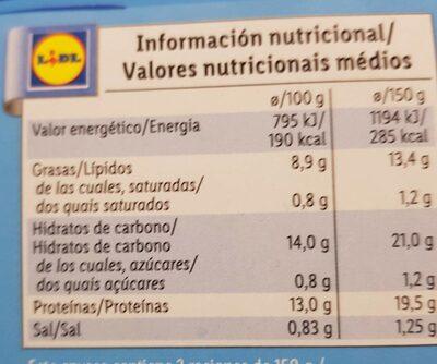 varitas de merluza - Voedingswaarden - es