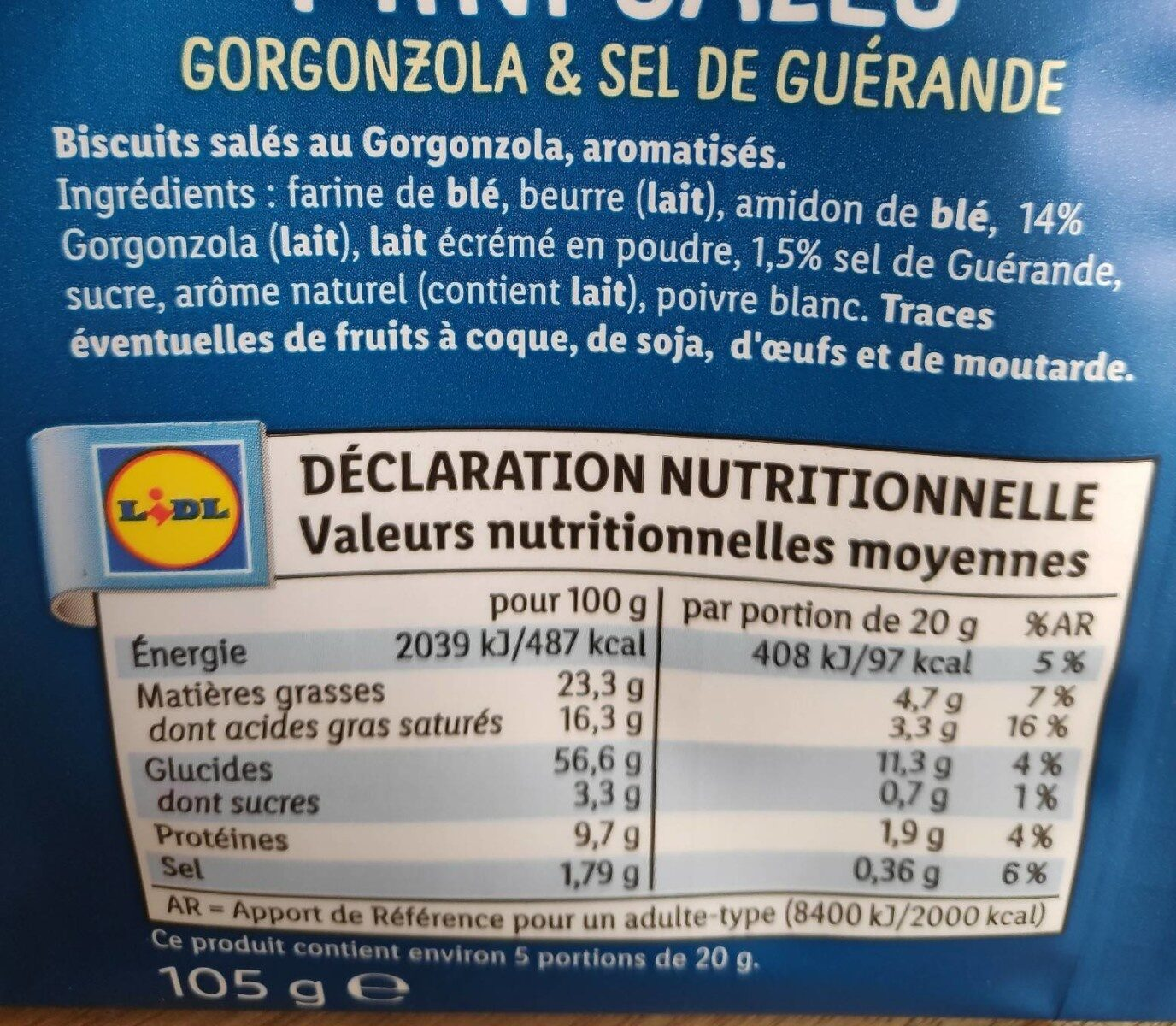 Mini salé - gorgonzola & sel de Guérande - Informations nutritionnelles - fr