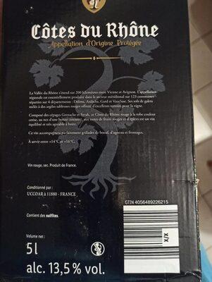 Vin rouge - Valori nutrizionali - fr