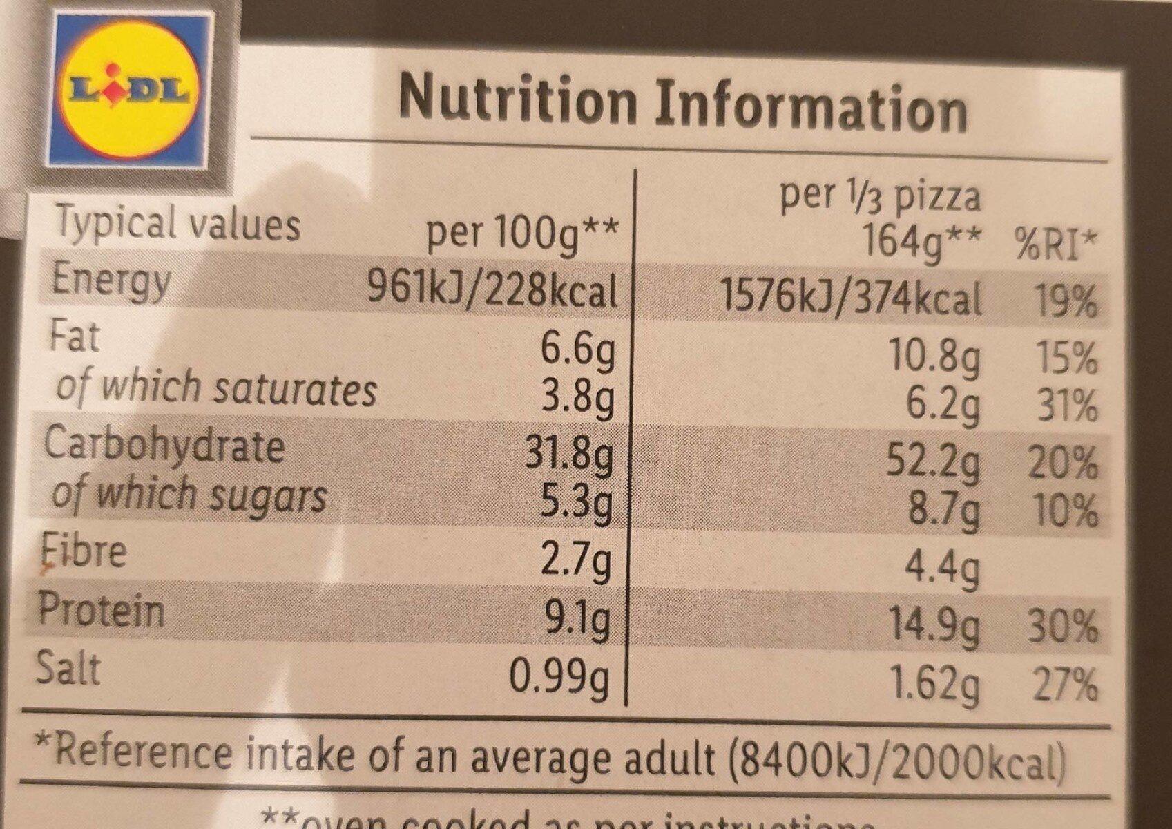 Sourdough pizza - Nutrition facts - en