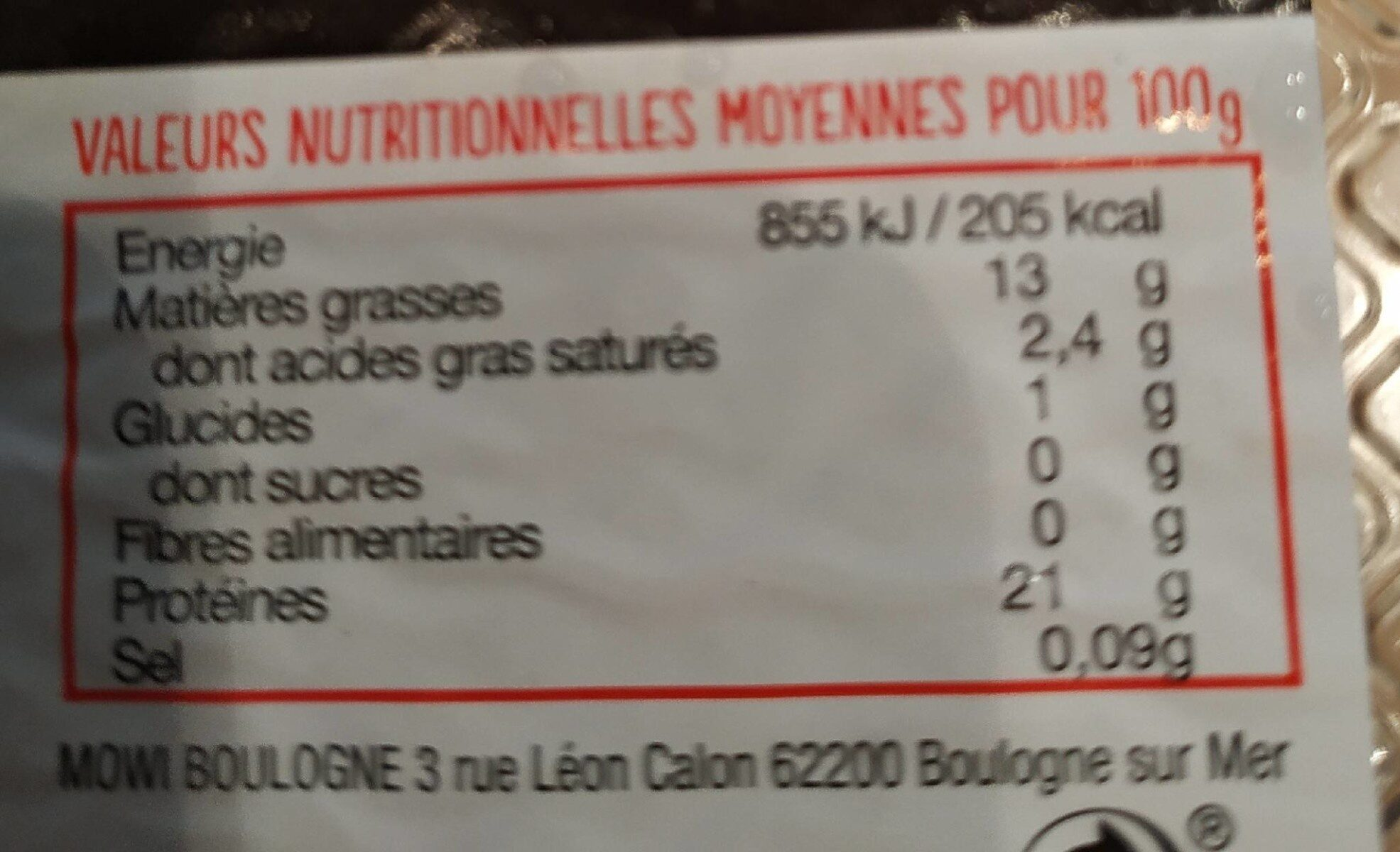 Pavé de saumon - Informations nutritionnelles - fr