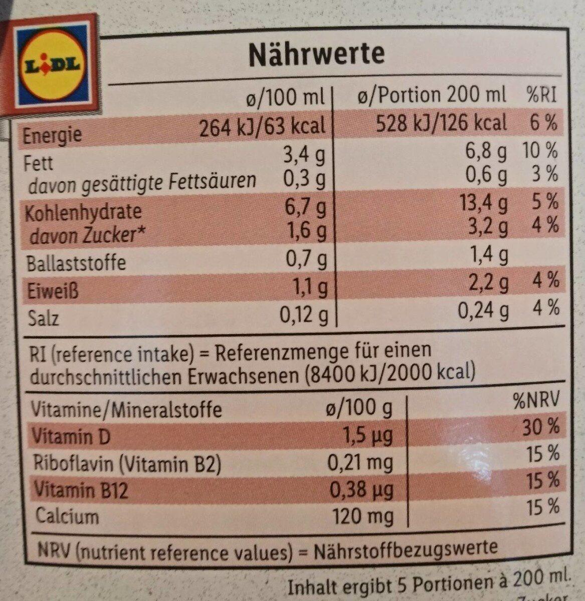 Hafer Barista Edition - Informazioni nutrizionali - de