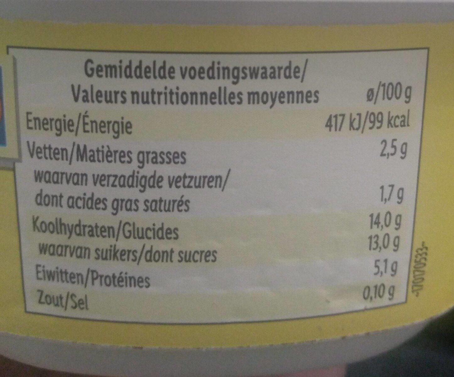 Fromage frais vanille - Informations nutritionnelles - fr