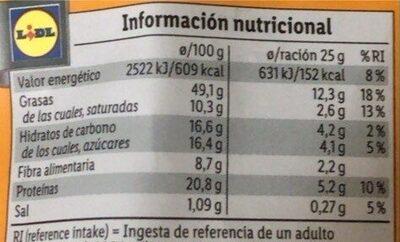 Almendra frita miel - Valori nutrizionali - es