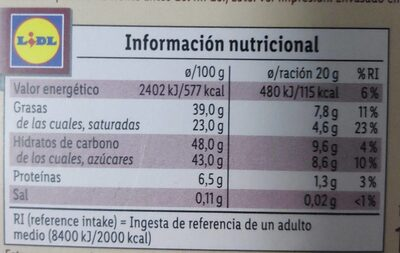 Turrón de café - Información nutricional - es