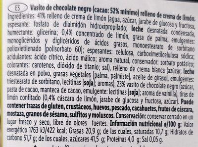 Vasito chocolate limon - Ingredients - en