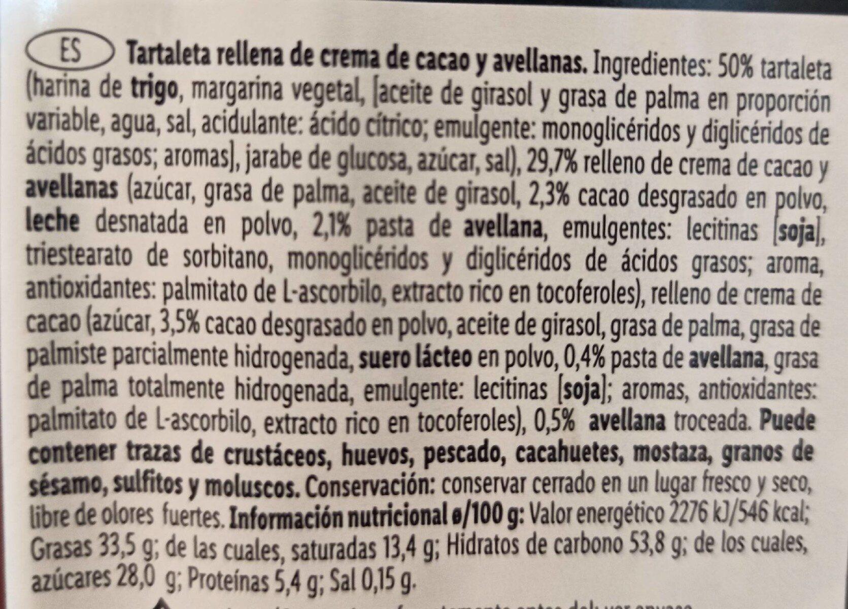 Crema de cacao avellana - Valori nutrizionali - es