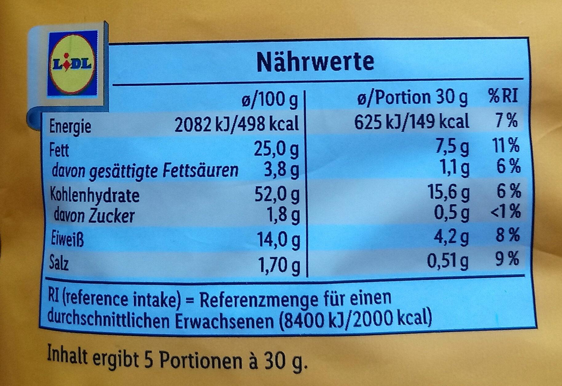 Erdnussringe - Nutrition facts - de