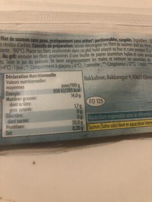 Pavés de saumon ASC sans peau - Informations nutritionnelles - fr