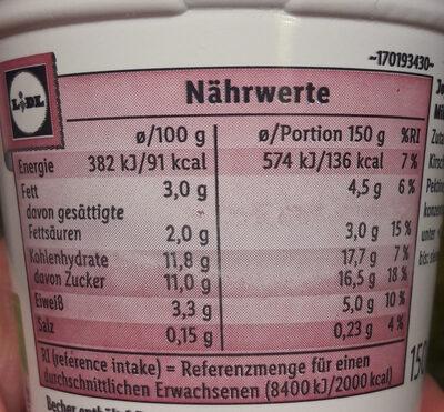 Fruchtgurt - Informazioni nutrizionali - de