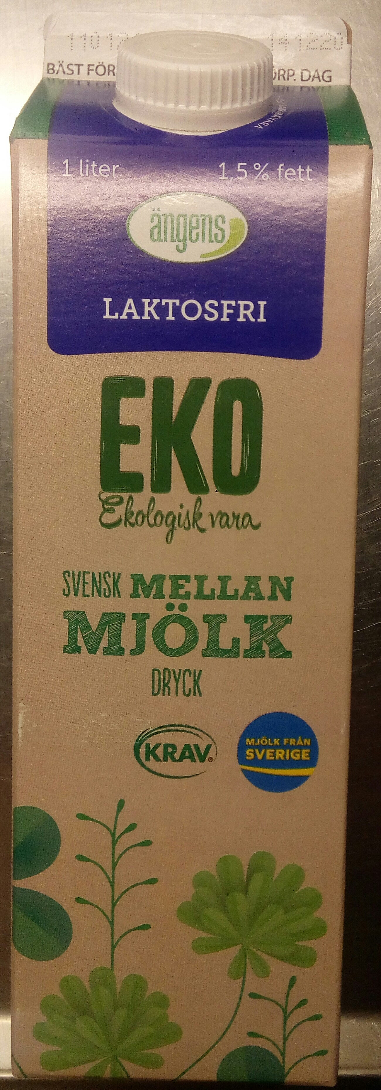 Ängens Laktosfri EKO Svensk mellanmjölkdryck - Produit - sv