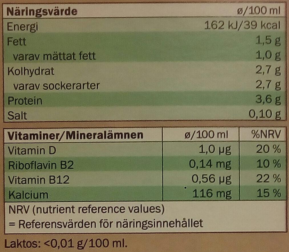 Ängens Laktosfri EKO Svensk mellanmjölkdryck - Informations nutritionnelles - sv