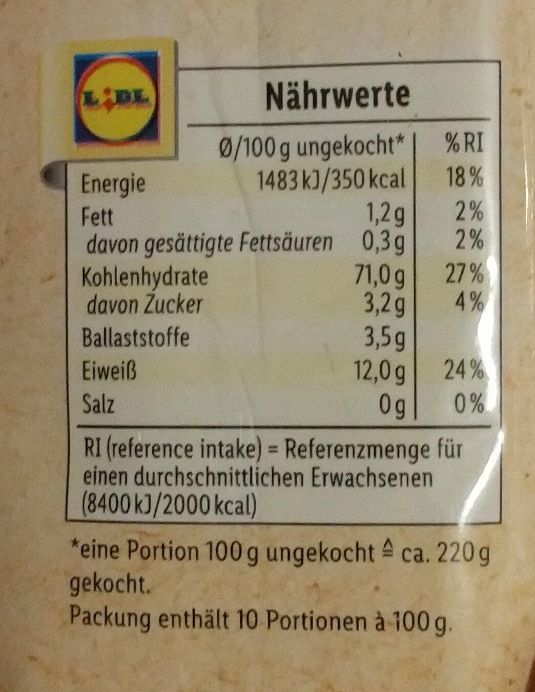 Bio Spaghetti - Nutrition facts - de