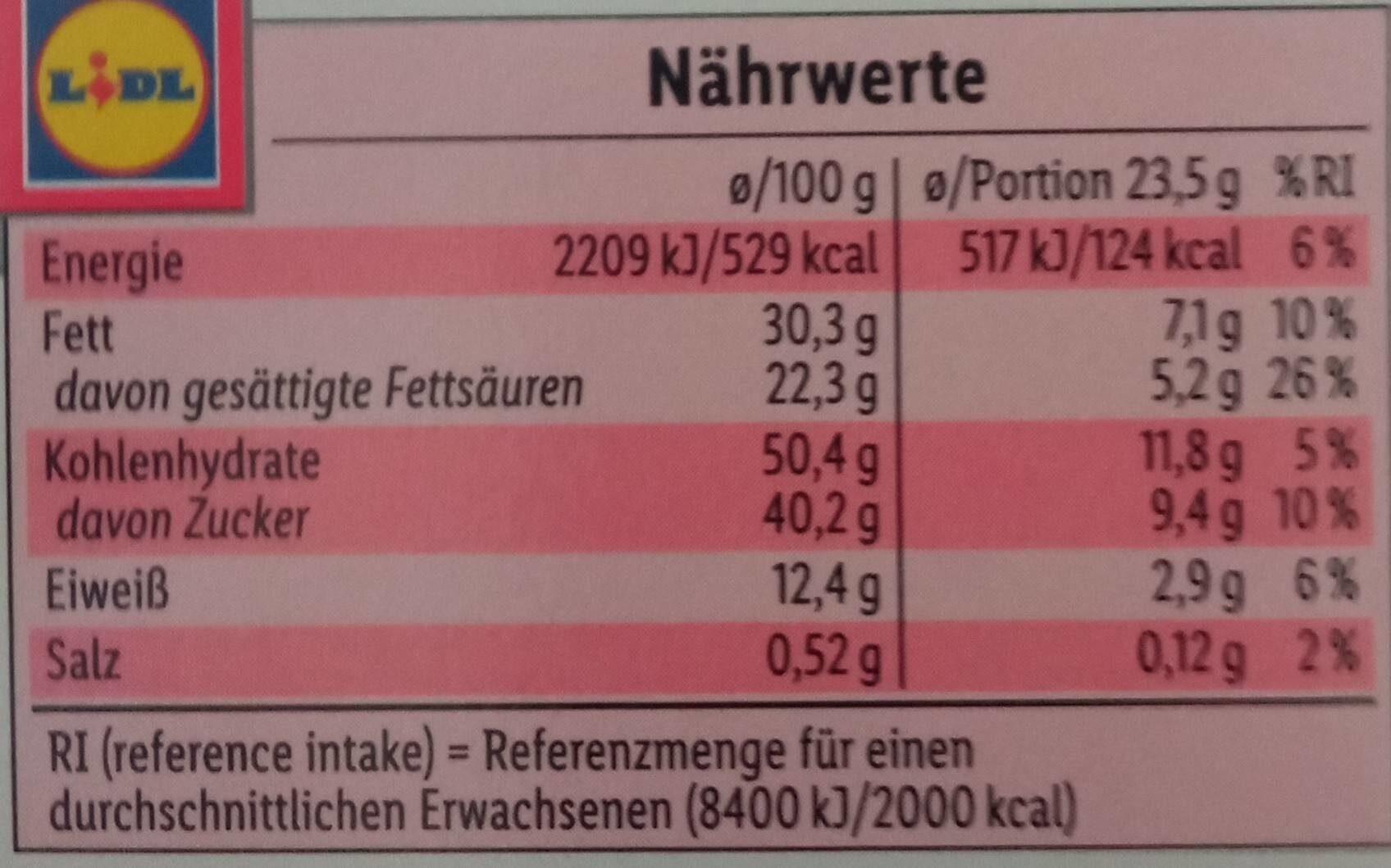 Milch und cerealien Riegel - Nährwertangaben - de