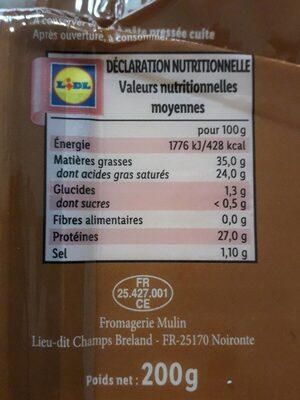 Meule fruitée - Valori nutrizionali - fr