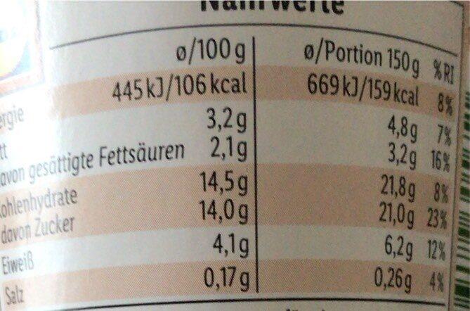 Bio joghurt - Nährwertangaben - de