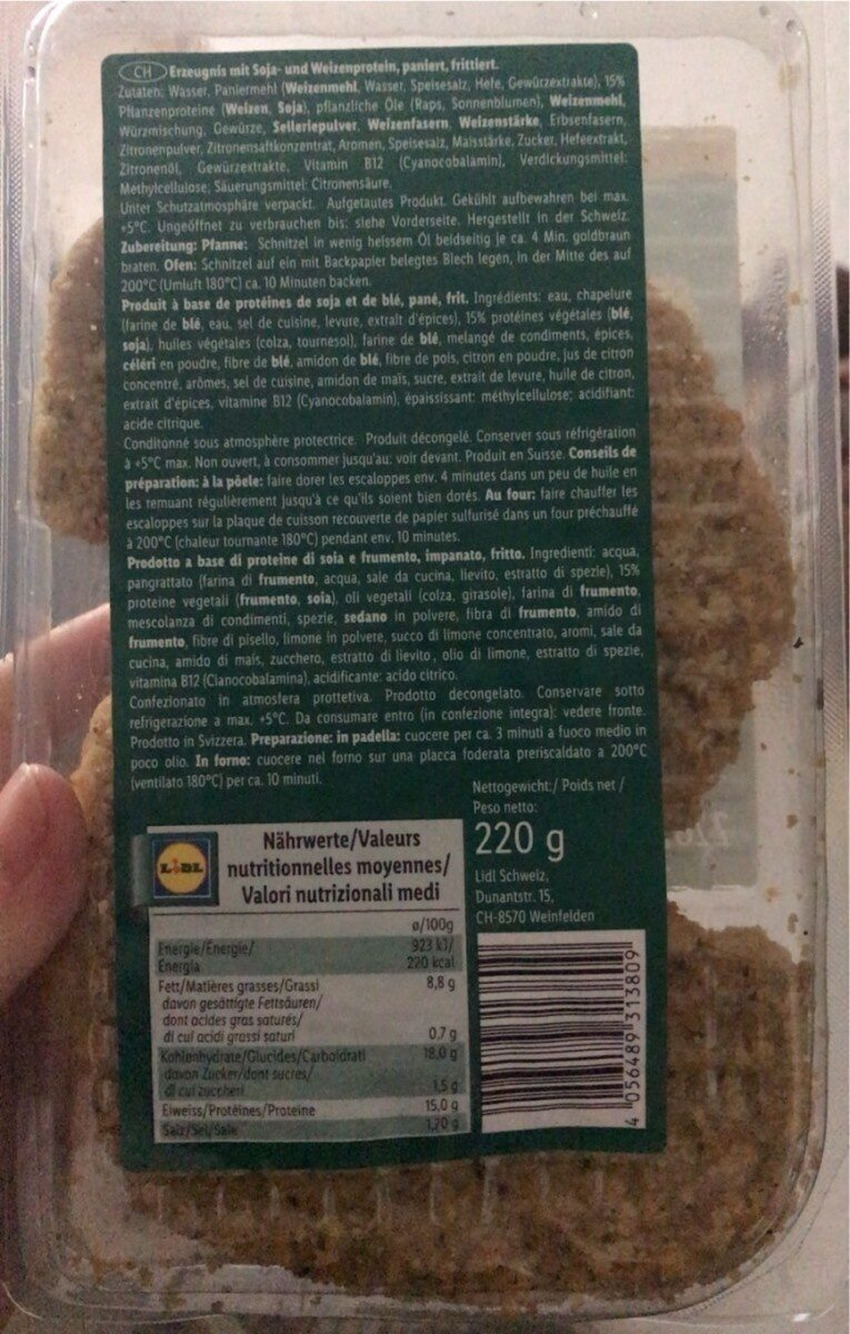 Schnitzel escaloppes - Nutrition facts - fr
