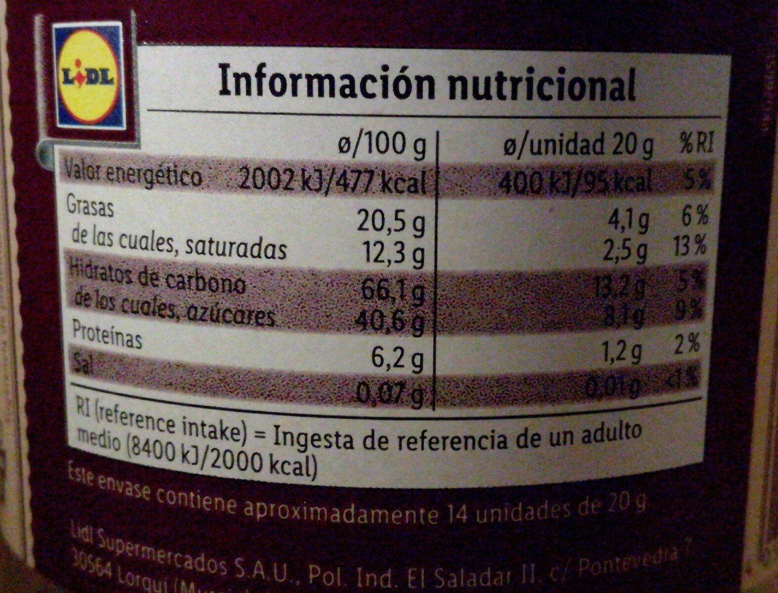 Barquillos tradicionales con chocolate negro - Nutrition facts - es