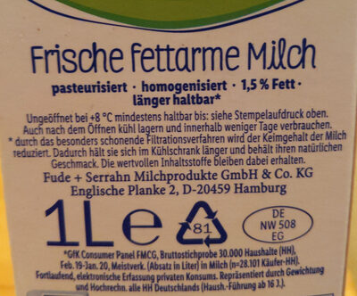 frische fettarme Weidemilch länger haltbar 1,5% Fett - Ingredients - de