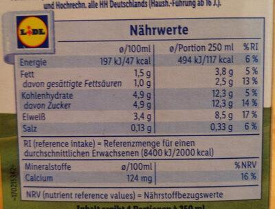 frische fettarme Weidemilch länger haltbar 1,5% Fett - Nutrition facts - de