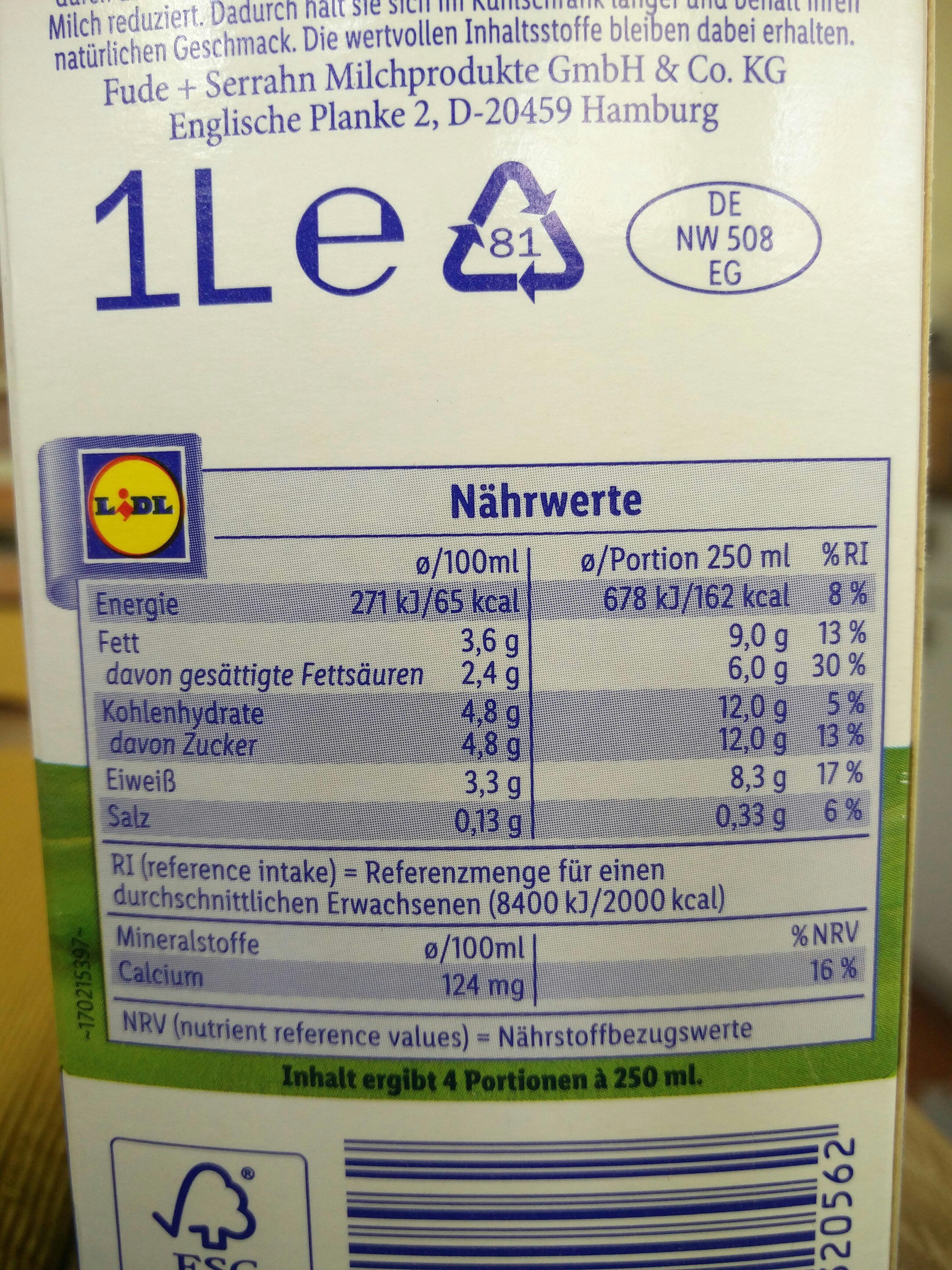 frische weide-Vollmilch - Nutrition facts - en