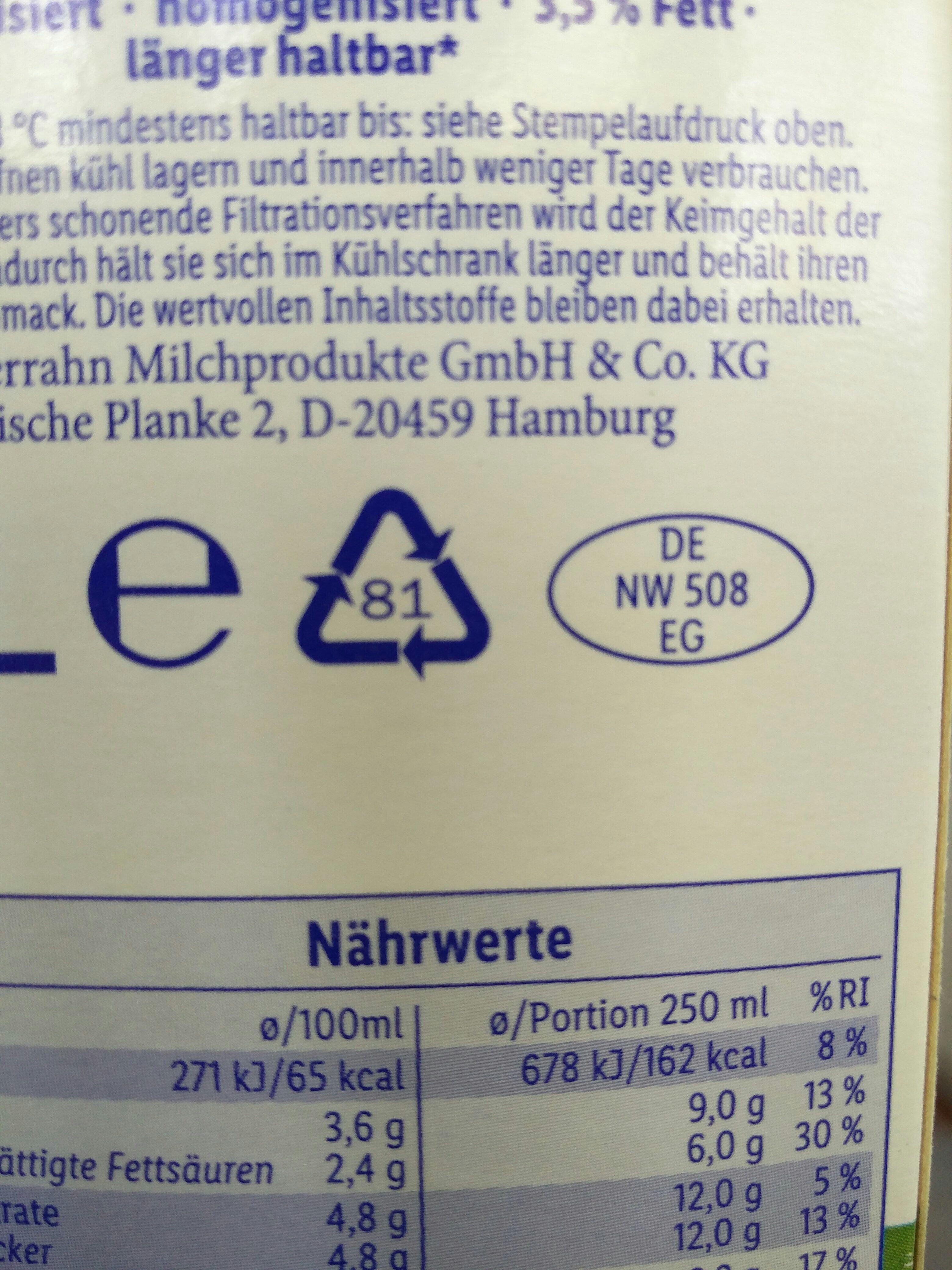 frische weide-Vollmilch - Recycling instructions and/or packaging information - en