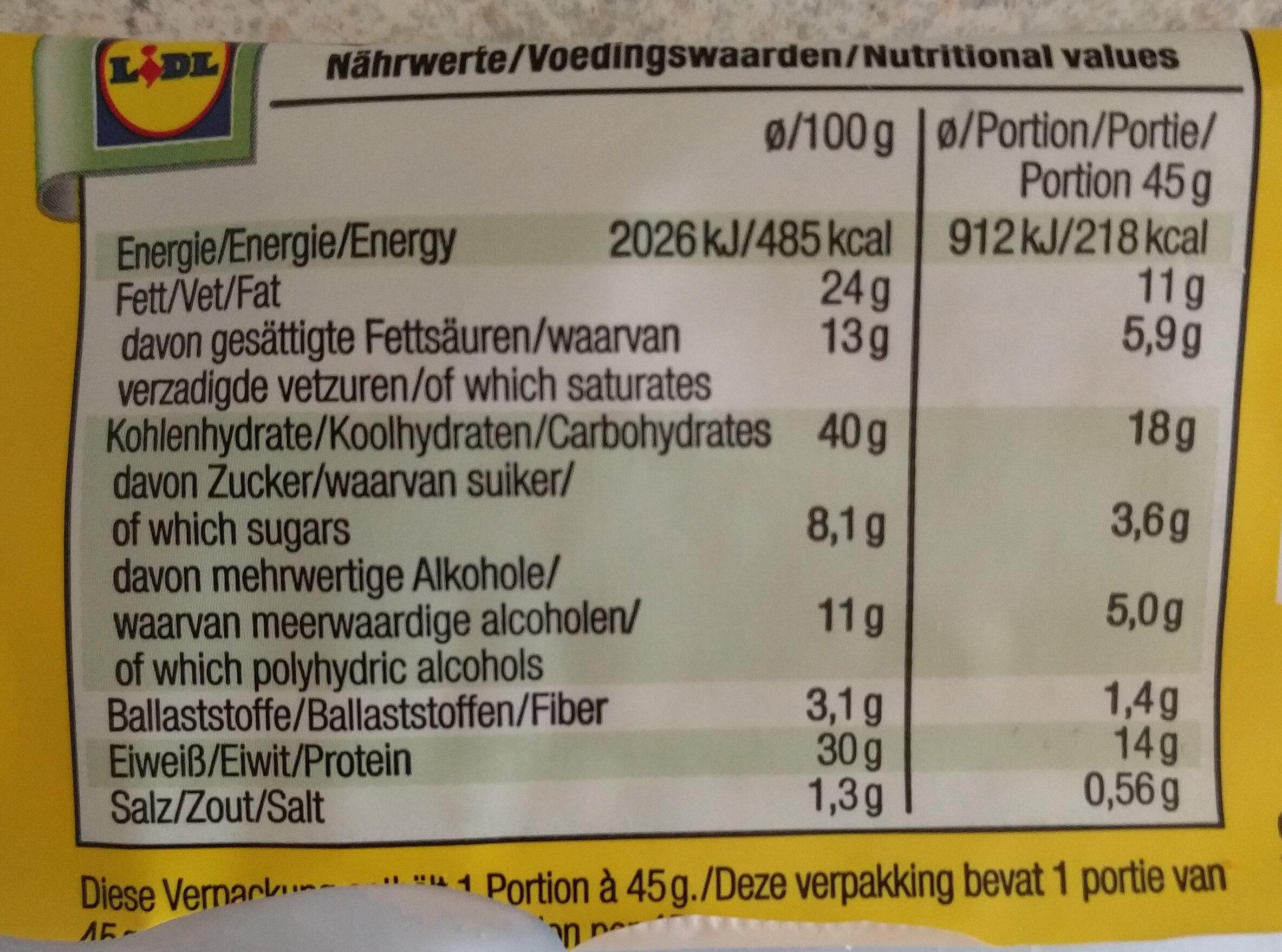 Protein cookies - Nährwertangaben - de