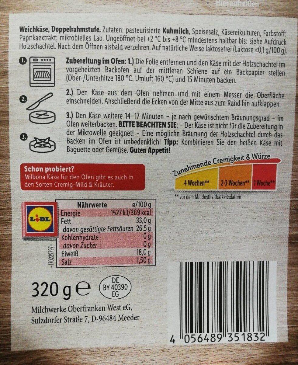 Käse für den Ofen - Nährwertangaben - de