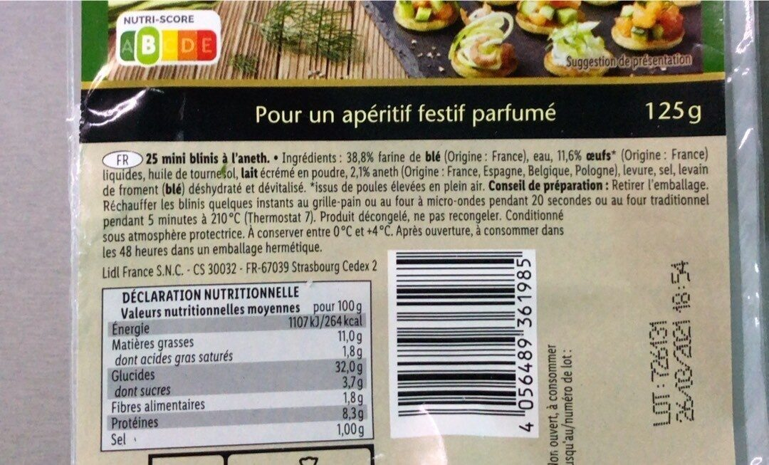 Mini Blinis Apero - Informations nutritionnelles - fr