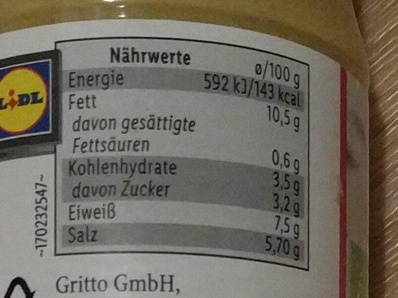 Bio-Senf Dijon - Informations nutritionnelles - de