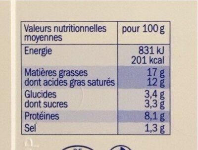 Mon p'tit plaisir - Voedingswaarden - fr