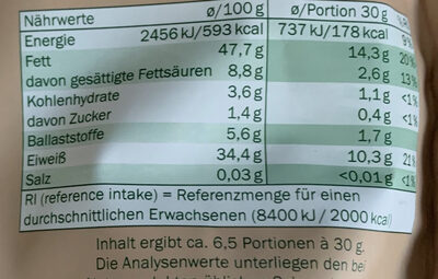 Steirische Kürbiskerne naturbelassen - Valori nutrizionali - de