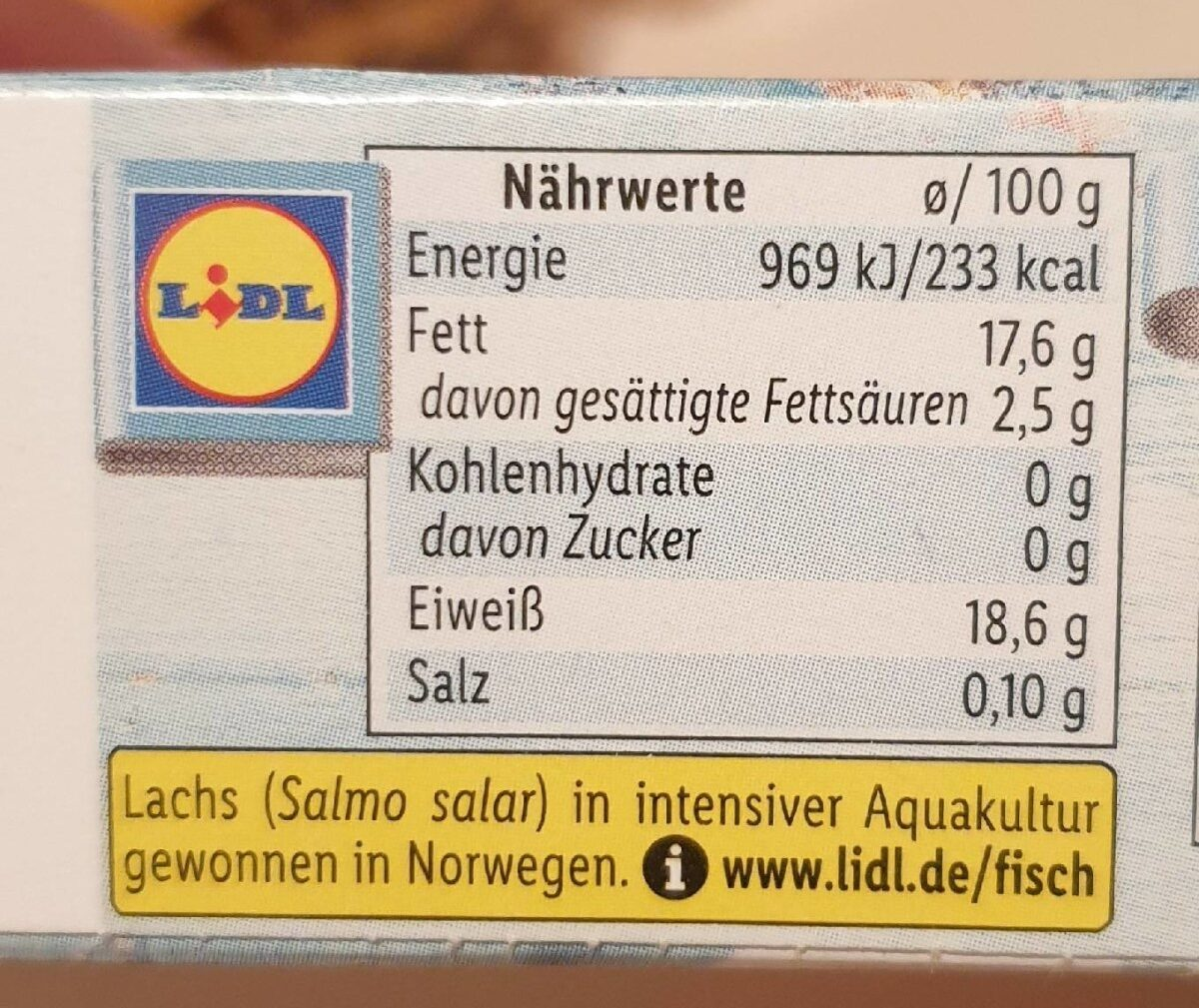 Lachsfilet ohne Haut, tiefgefroren - Informations nutritionnelles - de