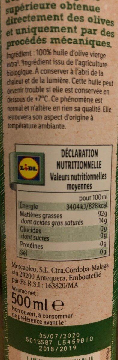 Huile d'olive vierge extra origine: Espagne extraite à froid - Nutrition facts