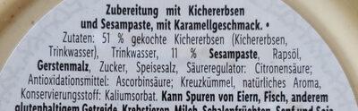 Hummus Karamell Art - Zutaten - de