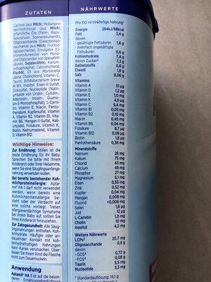 Aptamil - Nährwertangaben - de