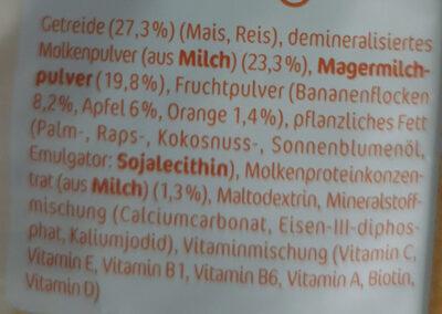 Milde Früchte Milchbrei - Inhaltsstoffe