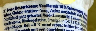 Feine Dessertcreme Vanille mit 10% Sahnetopping - Inhaltsstoffe
