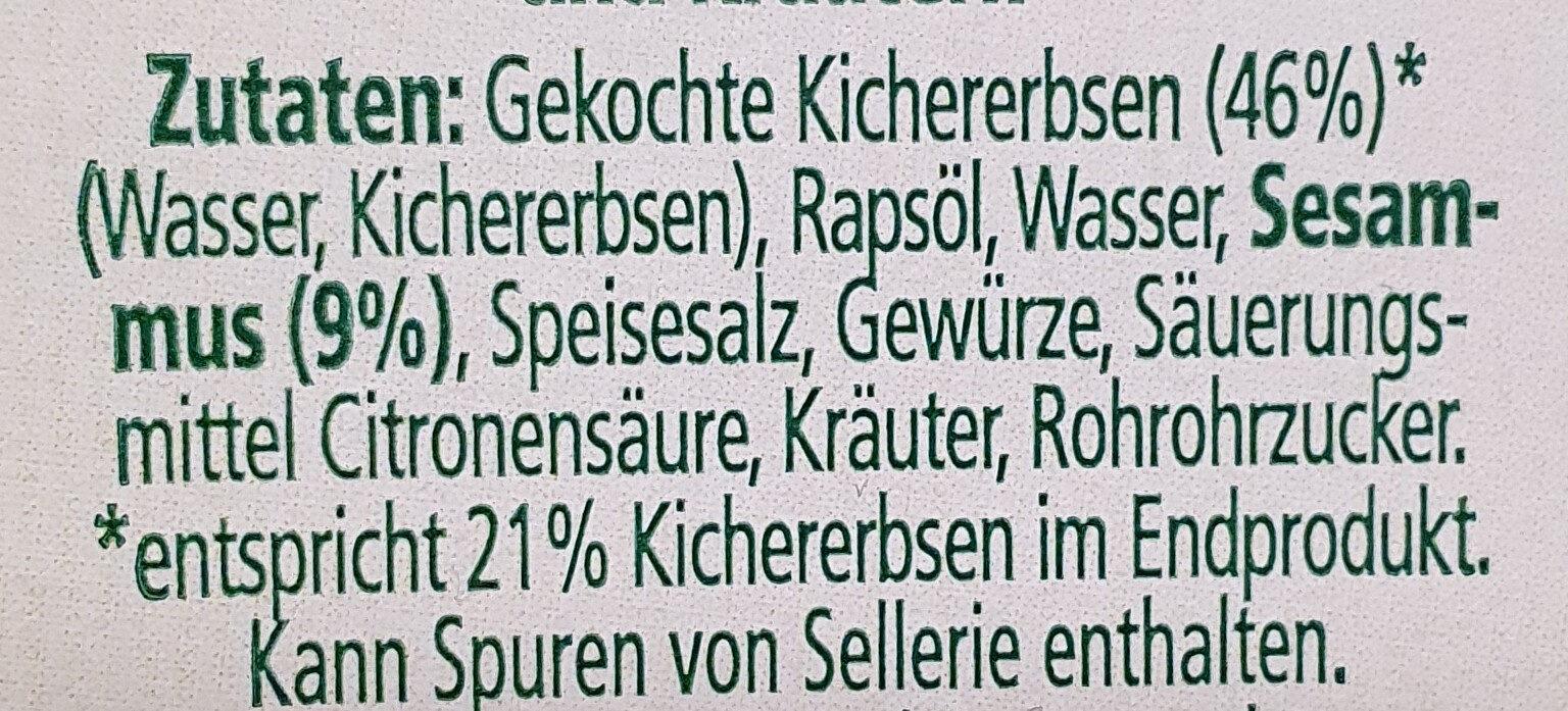 Noa Brotaufstrich Hummus Kräuter - Zutaten - de