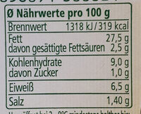 Noa Brotaufstrich Hummus Kräuter - Nährwertangaben - de