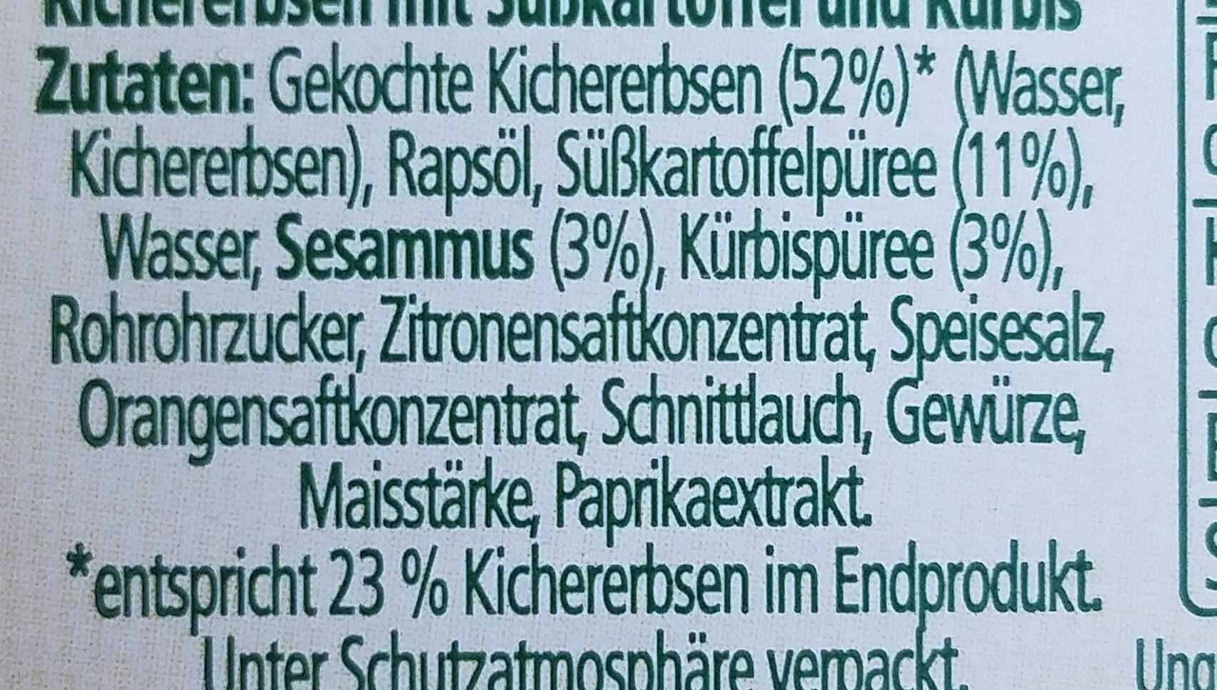 Hummus Süsskartoffel Kürbis - Ingredients - de