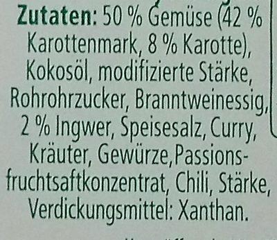 Gemüse Scheiben Karotte Curry Ingwer - Inhaltsstoffe