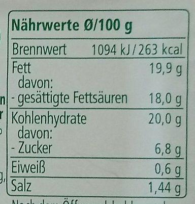 Gemüse Scheiben Karotte Curry Ingwer - Nährwertangaben