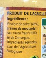 Moutarde au vinaigre de cidre et citron - Ingrédients - fr