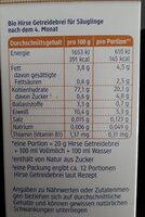 Hirse Getreidebrei - Valori nutrizionali - de