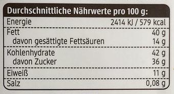 feine Nougat Cashews - Informations nutritionnelles
