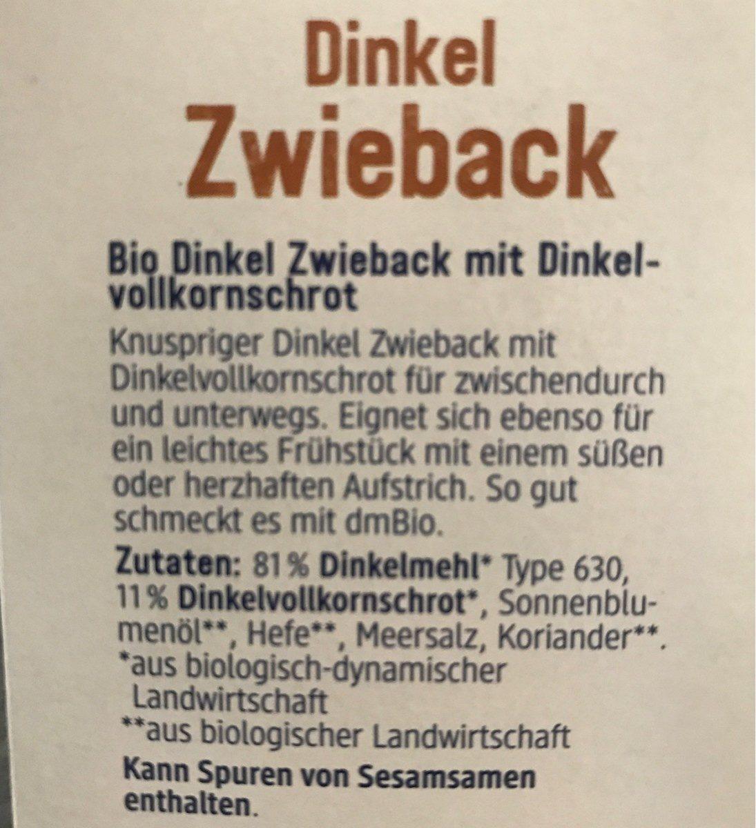 Dinkel Zwieback - Ingredients