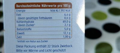 Dinkel Zwieback - Nutrition facts